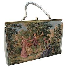 Vintage 1960's Tapestry & Faux Leather Purse / Handbag