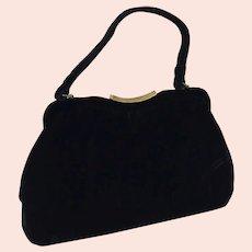 1960's Black Velvet Purse / Handbag With Handle By Verdi