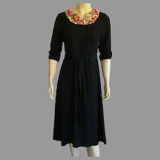 Vintage Black Rayon Dress With Crewel Embroidery Neckline Made In Israel