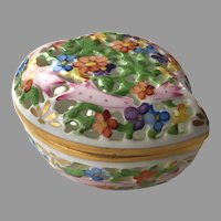 Vintage Herend Porcelain Open Work Heart Trinket Box