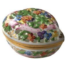 Vintage Herend Porcelain Open Work Heart Trinket Box