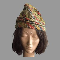 Vintage 1960's Amy New York Hat With Gold Lame Details