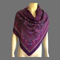 REDUCED Vintage Italian Purple Paisley Polyester Large Scarf / Shawl