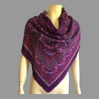 Vintage Italian Purple Paisley Polyester Large Scarf / Shawl