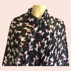 Scottie Dog Print Scarf Shawl Red Black White