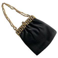 Vintage 1960's Black Satin Evening Purse With Gold Tone Frame Mardane USA