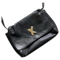 Vintage Black Leather Paloma Picasso Purse Made In Italy