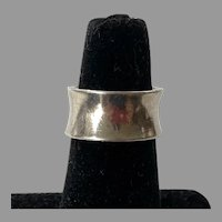 Vintage S' Paliu Spain Modernist Sterling Wide Band Ring Small Size