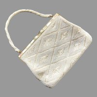 Vintage 1960's White Beaded Purse With Mother-Of-Pearl Frame Japan