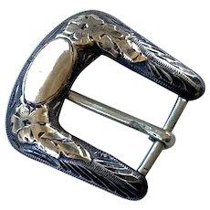 Antique Chased Sterling Silver 10K Gold Belt Buckle