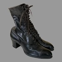 REDUCED Victorian Black Leather Shoes / Boots By Queens Quality