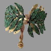 Designer Dina Panagopoulos Bold Gold Tone Green Leaf Cuff Bracelet