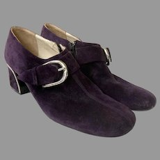 Vintage 1960's Purple Suede Shoes Made In Italy 7 1/2AA