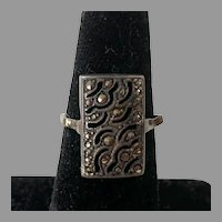 Vintage 1920's Silver Marcasite Ring Size 6.5