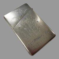 Antique Aethestic Meriden Britannia Silver Calling Card Case