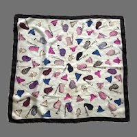 Whimsical Bagpipe and Hat Pattern Silk Scarf By Ben Goodman
