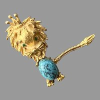 Vintage Whimsical Gold Tone Lion Pin With Faux Turquoise Belly