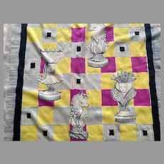 Vintage 1940's Chess Pieces Silk Scarf