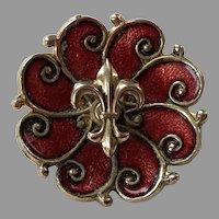 Vintage Burgundy Guilloche Enamel Fleur-Di-Lis Pin