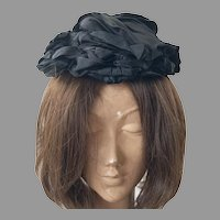 Victorian Black Silk Faille Mourning Bonnet Hat