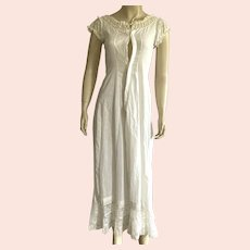 Antique Ankle Length Nightgown With Lace And Ribbon