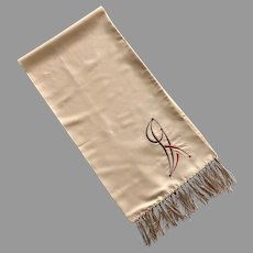 Vintage Art Deco Style Opera Scarf With Embroidery And Fringe
