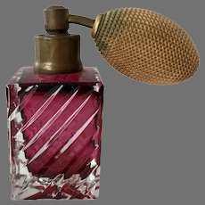REDUCED Vintage Cased Cranberry Glass Perfume Atomizer