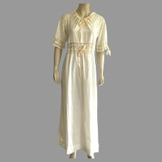 Antique Ankle Length Nightgown With Lace & Peach Ribbons Large Size