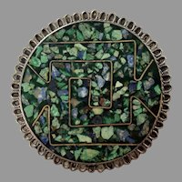 Vintage Taxco Mexico Sterling Turquoise Lapis Chip Inlay Pin / Pendant