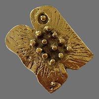 Gold Tone Brutalist Pin / Pendant By Dani Karavan Israel 1976