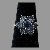 REDUCED Vintage Sterling Simulated Sapphire Cluster Ring