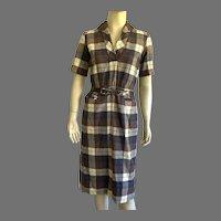 1950's Sue Brett Wool Plaid Shirt Waist Dress With Belt Junior Size