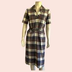 REDUCED 1950's Sue Brett Wool Plaid Shirt Waist Dress With Belt Junior Size