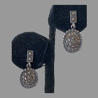 Vintage Sterling Marcasite Drop Earrings Pierced