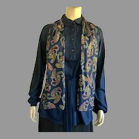 Vintage Diane Von Furstenberg Navy Tunic Top With Matching Scarf & Belt