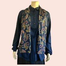 Vintage Diane Von Furstenberg Navy Tunic Top With Matching Scarf & Belt