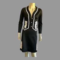 REDUCED Vintage 1970's Frederick's Of Hollywood Polyester Black & White Suit