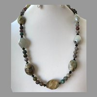 REDUCED Agate, Jasper & Crystal Beaded Necklace