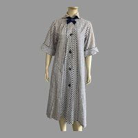 Vintage 1950's Navy & White Plaid Seersucker Robe