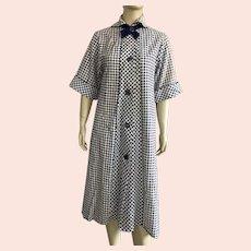 Vintage 1950's Navy & White Plaid Seersucker Robe