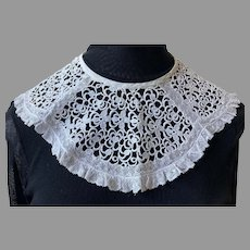 Vintage White Need Lace Wide Collar