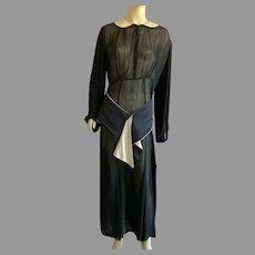 Vintage 1930's Black Sheer Dress With Beige Satin Collar And Belt Large Size