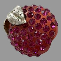 Vintage 1930's Translucent Bakelite & Rhinestone Apple Pin