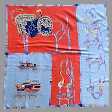Vintage Large Polyester Carriage Theme Scarf