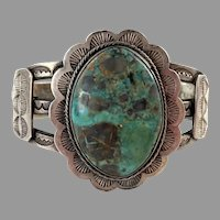 Early 1900's Native American Coin Silver Large Turquoise Cuff Bracelet