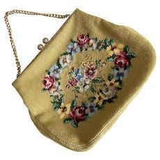 Vintage 1960's Needlepoint Floral Design Purse