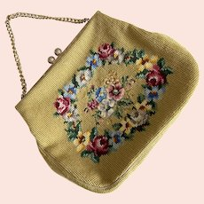Vintage 1960's Needlepoint Floral Design Purse