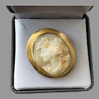 Antique 9K Gold Shell Cameo Profile Of Woman