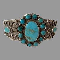 Vintage 1920's 30's Native American Turquoise Cluster Bracelet
