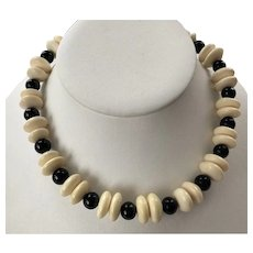 Vintage Bone & Black Onyx Beaded Necklace With Sterling Filigree Clasp